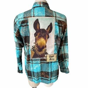Angry Minnow Vintage Donkey Bad Ass Flannel Unisex